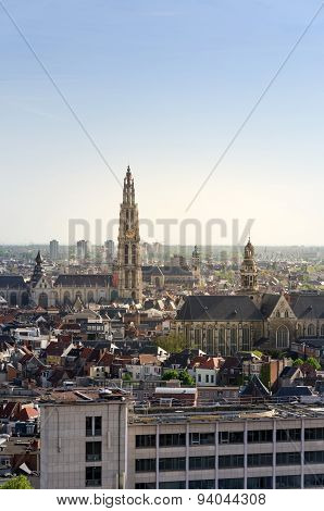 Aerial View On The Cathedral Of Our Lady And The Church Of Saint Paul In Antwerp