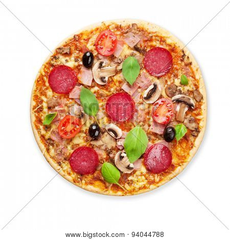 Italian pizza with pepperoni, tomatoes, olives and basil. Isolated on white background
