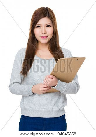 Young girl hold with clipboard