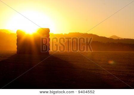 Haystack At Sunset