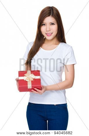 Woman hold with giftbox