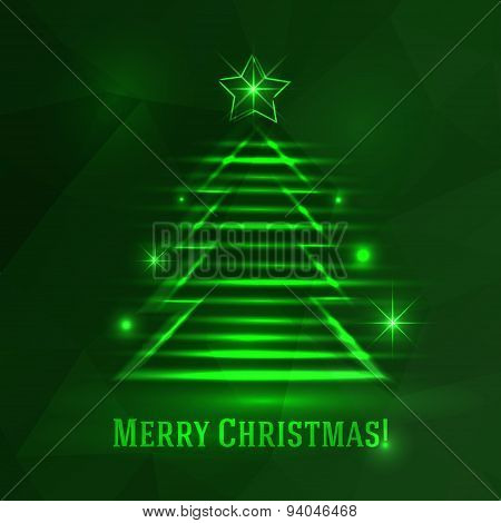 Background With Shiny Fir Tree