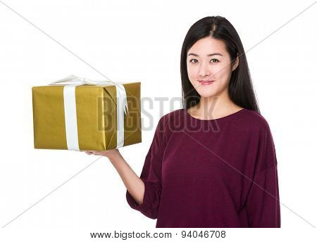 Young woman hold with giftbox