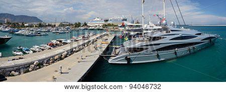 Antalya, Turkey, June 5, 2015. Ships in Port Akdeniz, Antalya