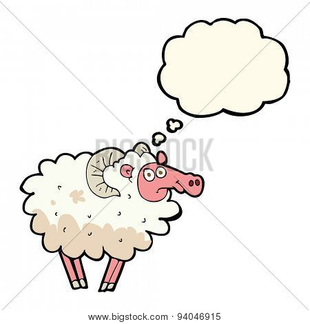 cartoon dirty sheep with thought bubble