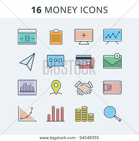 Money icons set. Logo design elements. Money, banking, hands, charts. Stock vector illustration.