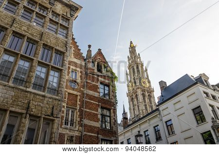 Cathedral Of Our Lady In The Center Of Antwerp