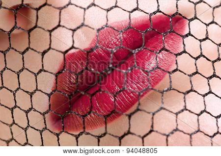 Red lips closeup