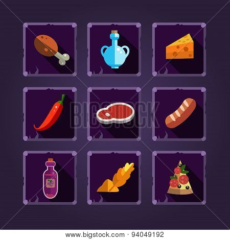 Resource Icons for Games. Food and Potions
