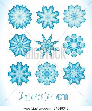 Set of snowflakes, fractals or mandalas great for christmas or ethnic use.