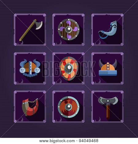 Game icons. Viking emblem.