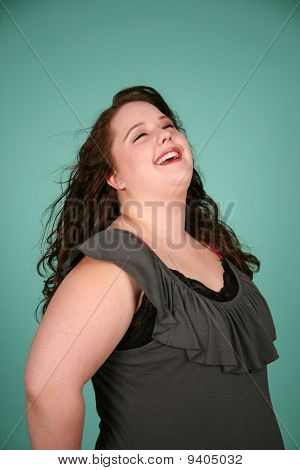 Happy Overweight Woman