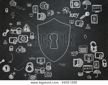 Privacy concept: Shield With Keyhole on School Board background