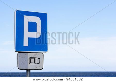 Parking sign at beach