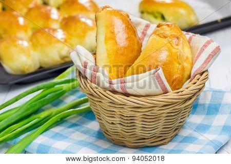 Russian Pastries (pirogi) Filled With Eggs And Green Onion, Closeup