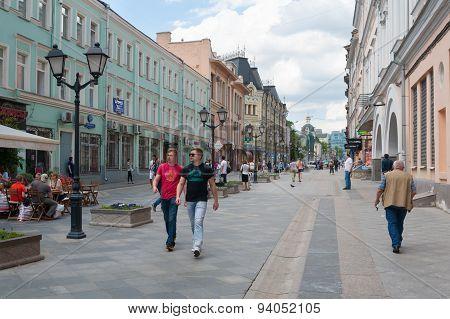 People Walking On Rozhdestvenka Street