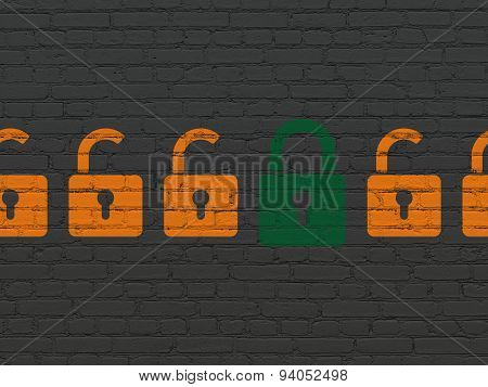 Protection concept: closed padlock icon on wall background