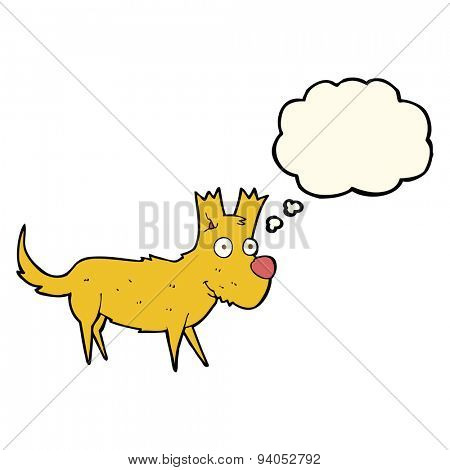 cartoon cute little dog with thought bubble