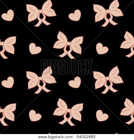 pastel pink bow ribbon cute vector seamless pattern