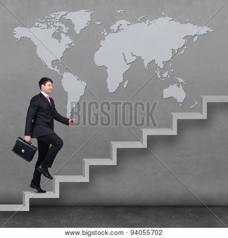 Businessman walking upstairs