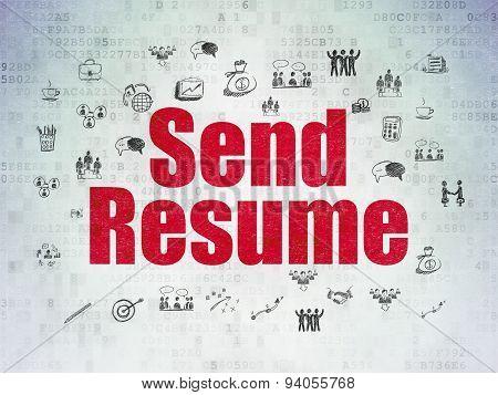 Finance concept: Send Resume on Digital Paper background