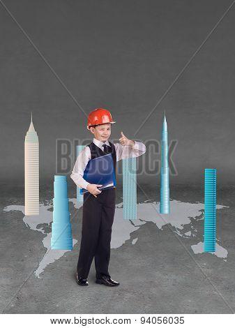 Little builder in helmet