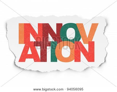 Business concept: Innovation on Torn Paper background