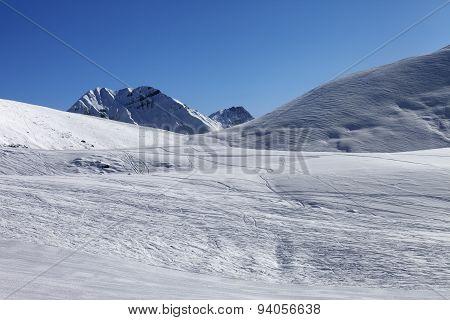 Ski Slope At Nice Sunny Morning