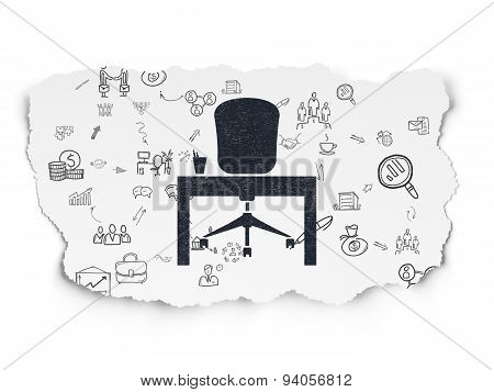 Business concept: Office on Torn Paper background