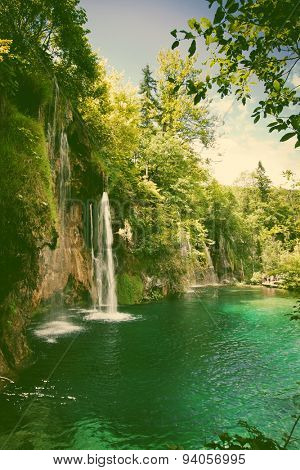 Plitvice lakes and waterfalls in Croatia - retro style postcard
