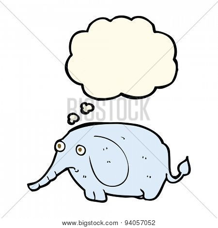 cartoon sad little elephant with thought bubble