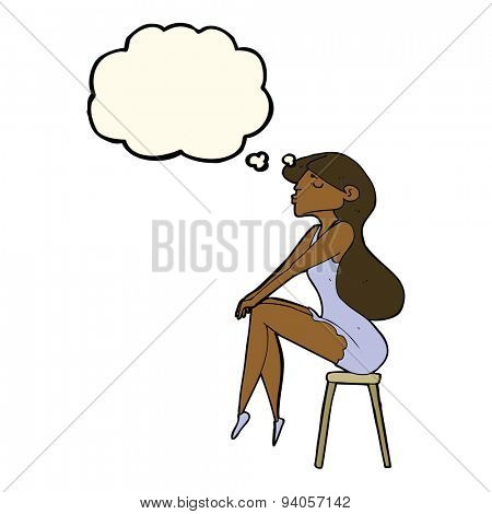 cartoon woman sitting on stool with thought bubble
