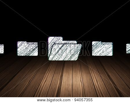 Business concept: folder icon in grunge dark room