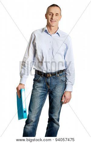 Handsome man holding blue binder.
