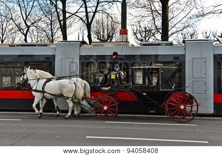 Tram and Horse Carriage in Vienna