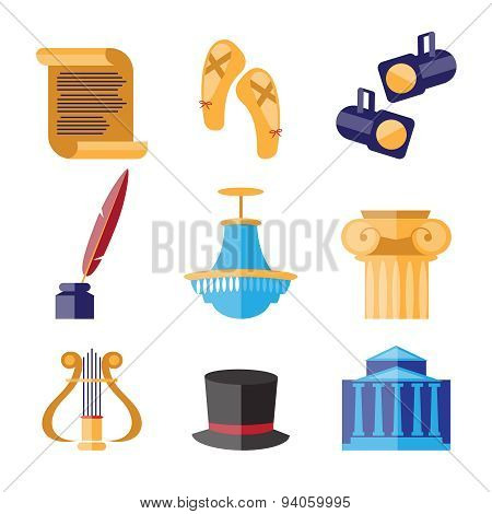 Theater Performance Decorative Icons Set