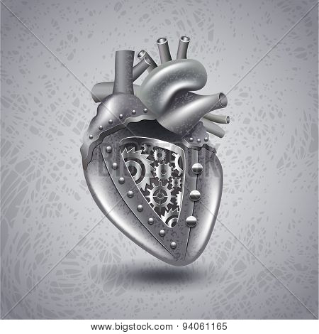 Steam Punk Metal Heart With Gears