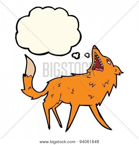 cartoon snapping fox with thought bubble