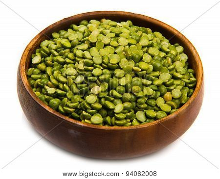 Dried Peas On Wood Bowl Isolated On White