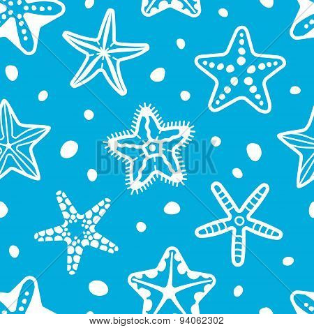Vector sea seamless pattern with starfish