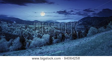Village On Mountain Slope At Night