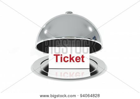 Silver Cloche With White Sign Ticket