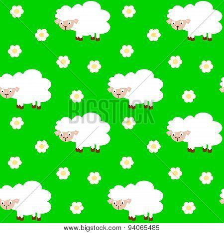 cute funny cartoon sheep seamless vector pattern