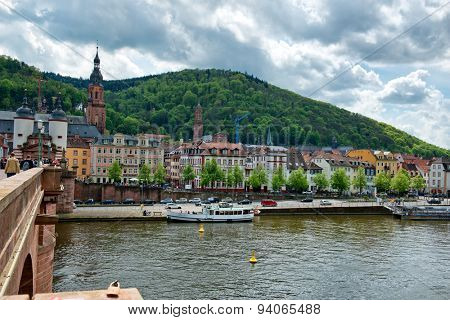 HEIDELBERG, GERMANY - APRIL 26: Scenic view of the waterfront in Heidelberg, Germany with its historical buildings lining the banks of the Neckar River on April 26, 2015