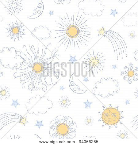 Seamless Pattern With Doodle Sun