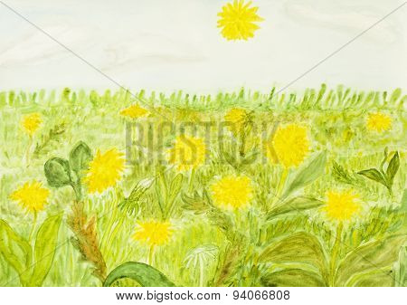 Yellow Dandelions, Painting