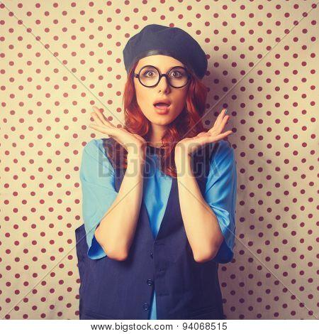 Surprised Redhead Girl In Glasses