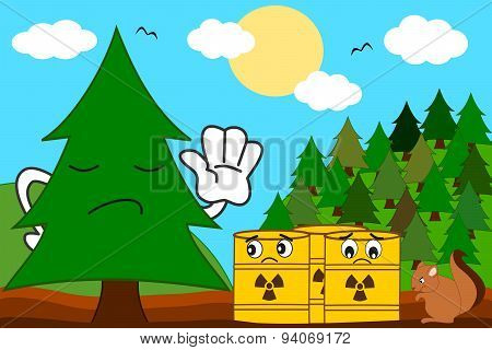 cartoon tree versus toxic waste concept vector illustration