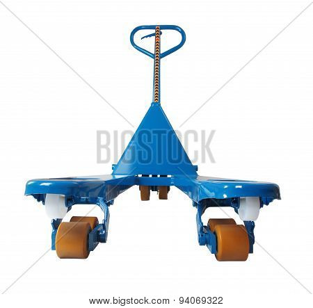 Blue Hand Pallet Truck To Lift And Move Pallets.