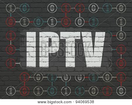 Web design concept: IPTV on wall background